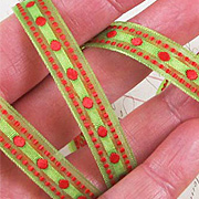 Diamond Stitched Sheer Ribbon - Green and Red