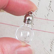 Round Glass Bottle Pendant with Silver Top