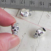 3D Silver Skull Charm - Large Hole