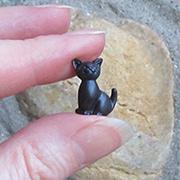 Mini Black Resin Sitting Cat