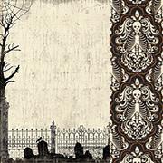 Mysterious Skeleton Damask Scrapbook Paper