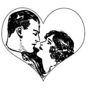 Couple in Heart Rubber Stamp