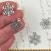 Small Antique Silver Snowflake with Loop