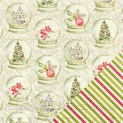 Vintage Christmas Snowglobes Scrapbook Paper