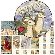 Snowy Winter Scenes with Deer Half Sheet