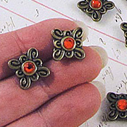 Bronze Slider Beads - Square with Red Rhinestone