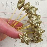 Gold Glitter Mini Star Picks