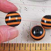 Black & Orange Striped 20mm Resin Beads**