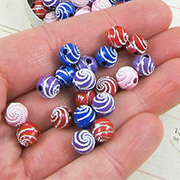 8mm Round Swirl Beads - Mixed Colors