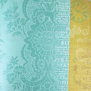 Yesterday Teal Damask Scrapbook Paper