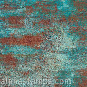 Oxidation Scrapbook Paper Teal Rust Alpha Stamps
