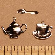 Silver-Plated Teacup, Teapot, Spoon