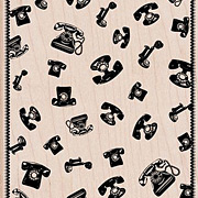 Telephone Background Rubber Stamp**