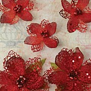 Textured Elements Jeweled Flowers - Red