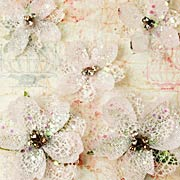 Textured Elements Jeweled Flowers - White