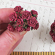 Tiny Burgundy Paper Roses*