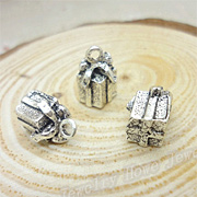 Tiny Silver 3D Gift Box Charms