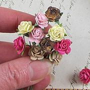 Tiny Paper Roses - Cream-Pink-Brown*