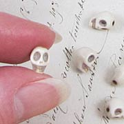 Tiny White Turquoise Skull Beads*