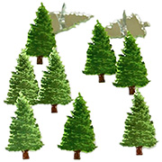 Christmas Trees Metal Brads