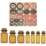 Amber Apothecary Vials with Labels