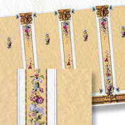 Floral Columns Dollhouse Wallpaper