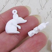 White Plastic Mouse Charms