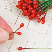 1/4 Inch Red Holly Berry Stems