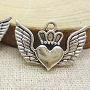 Crowned Winged Heart Charm