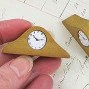Wood Tambour Case Mantel Clock