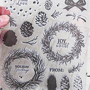 Layering Wreath & Pinecones Clear Stamp Set