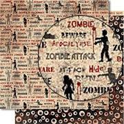 Zombie Attack Scrapbook Paper - Apocalypse